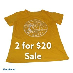 Be Happy Tee Shirt 100% Cotton Yellow Size small